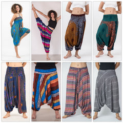 Assorted set of 5 Thai Jumpsuit Low Crotch Harem Pants BESTSELLER