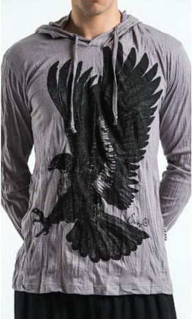 Sure Design Unisex Eagle Hoodie Gray