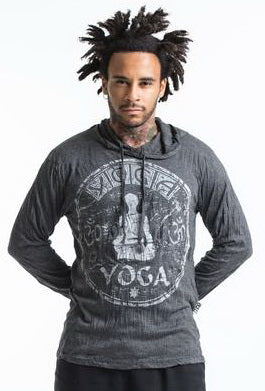Sure Design Unisex Infinitee Yoga Stamp Hoodie Silver on Black