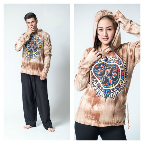 Sure Design Tie Dye Unisex Om Mandala Hoodie Brown