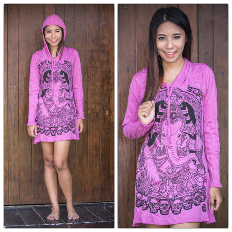 Sure Design Women's Batman Ganesh Hoodie Dress Pink