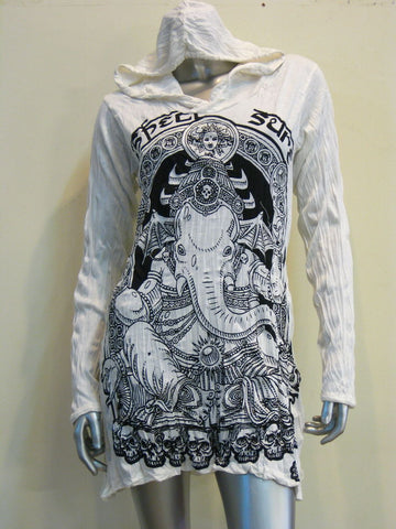 Sure Design Women's Batman Ganesh Hoodie Dress White