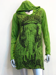 Sure Design Women's Wild Elephant Hoodie Dress Lime