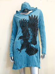 Sure Design Women's Eagle Hoodie Dress Turquoise