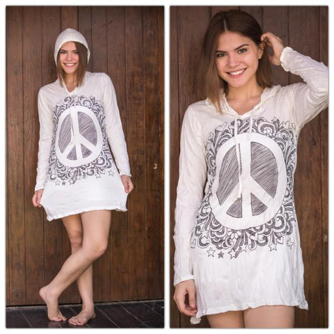 Sure Design Women's Peace Sign Hoodie Dress White