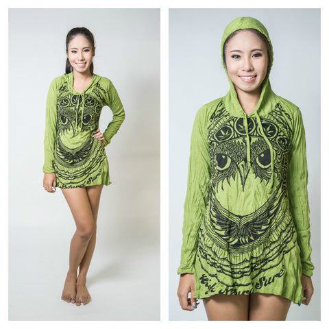 Sure Design Women's Weed Owl Hoodie Dress Lime