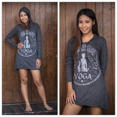 Sure Design Women's Yoga Stamp Hoodie Dress Silver on Black