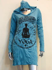Sure Design Women's Yoga Stamp Hoodie Dress Turquoise