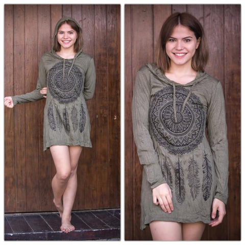 Sure Design Women's Dreamcatcher Hoodie Dress Green