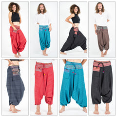 Assorted Set of 5 Pinstripe Cotton Low Cut Harem Pants With Hill Tribe Trim