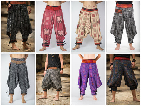 Assorted Set of 10 Men's Thai Hill Tribe Fabric Harem Pants with Ankle Straps
