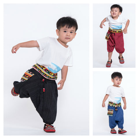 Assorted set of 5 Pinstripe Cotton Low Cut Kids Harem Pants With Hill Tribe Trim