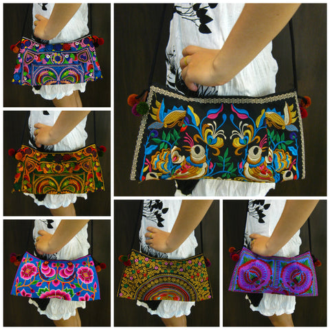 Assorted set of 10 Thai HandMade Hmong Shoulder Bags