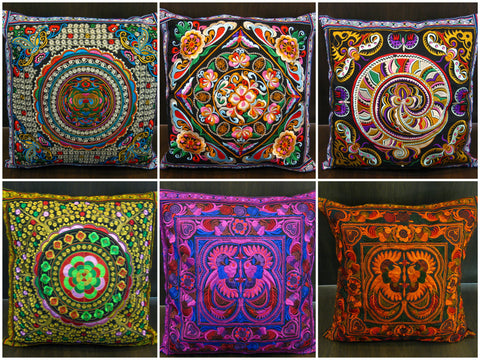 Assorted set of 10 NEW Throw Pillow Covers made from Thai Hill Tribe Material