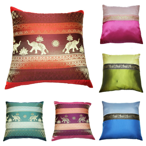 Assorted set of 6 NEW Thai Silk Elephant Pillow covers