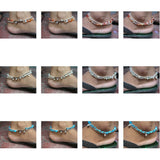 Wholesale Assorted set of 10 Thai Stone Adjustable Anklets - $35.00