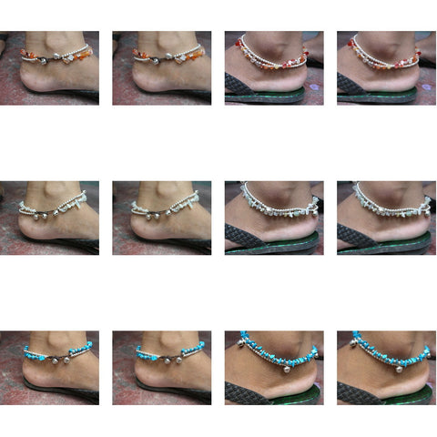 Assorted set of 10 Thai Stone Adjustable Anklets