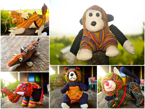 Assorted set of 6 Thai Hmong Fabric Stuffed Animals