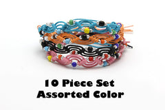 Assorted set of 10 Thai Waxed Cotton Woven Bracelet With Beads