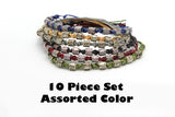Wholesale Assorted 10 Piece Set Hand Made Thai Waxed Cotton Woven Bracelet With Tribal Beads - $18.00