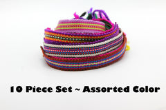Assorted 10 Piece Set Hand Made Thai Cotton Woven Loomed String Friendship Bracelet