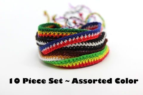 Assorted 10 Piece Set Hand Made Thai Cotton Woven String Friendship Bracelet