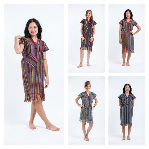 Assorted set of 5 Length Short Sleeve Hill Tribe Dresses