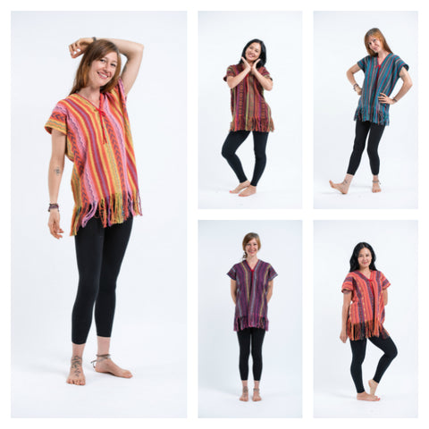 Assorted set of 5 Hill Tribe Tunic Shirts