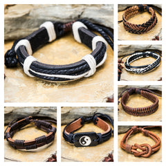 Assorted set of 5 Hand Made Thai Woven Leather Bracelet 3 Color 5 Strand