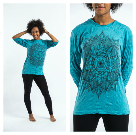 Sure Design Unisex Lotus Mandala Long Sleeve Shirt Turquoise
