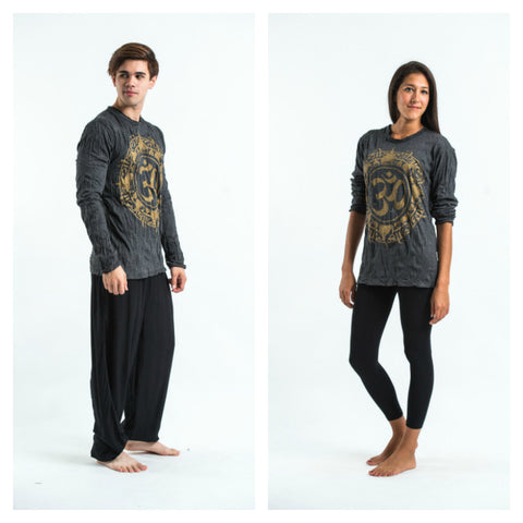 Sure Design Unisex Infinitee Ohm Long Sleeve Shirt Gold on Black