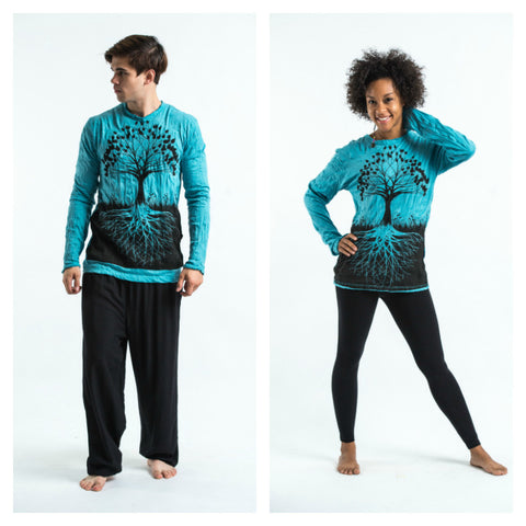 Sure Design Unisex Tree Of Life Long Sleeve Shirt Turquoise
