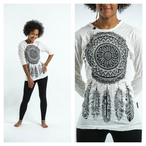 Sure Design Unisex Dreamcatcher Long Sleeve Shirt White