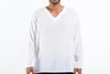 Mens V Neck Yoga Shirts in White