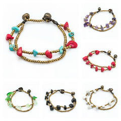 Assorted set of 10 Beautiful Hand Made Brass Bracelet with Stone Bead