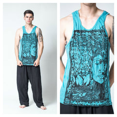 Sure Design Men's Sanskrit Buddha Tank Top Turquoise