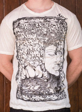 Sure Design Men's Sanskrit Buddha T-Shirt White