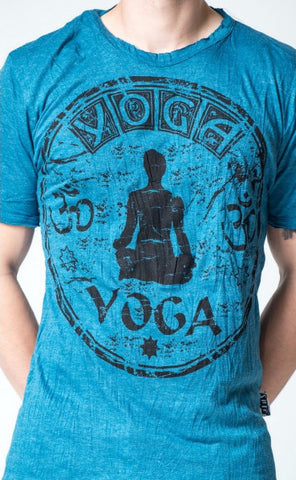 Sure Design Men's Infinitee Yoga Stamp T-Shirt Denim Blue