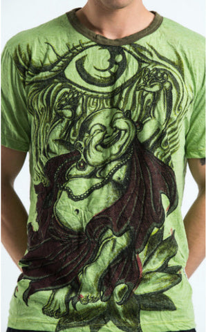 Sure Design Men's Happy Buddha T-Shirt Green