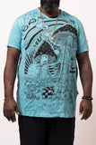 Wholesale Plus Size Sure Design Men's Magic Mushroom T-Shirt Turquoise - $11.00