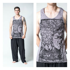 Sure Design Men's Sanskrit Buddha Tank Top Gray