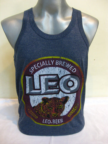 Men's Leo Beer Tank Top Denim Blue