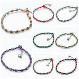Wholesale Assorted set of 10 Hand Made Fair Trade Anklet Waxed Cotton Silver Beads - $35.00