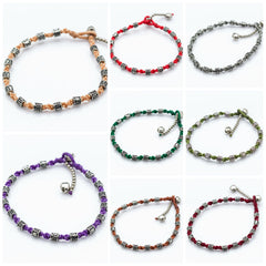 Assorted set of 10 Hand Made Fair Trade Anklet Waxed Cotton Silver Beads