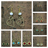 Wholesale Assorted set of 10 Thailand Hill Tribe Hand Made Brass Dangle With Bead Earrings - $40.00