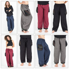 Assorted set of 5 Thai Cotton Drawstring Pants With Hill Tribe Trim