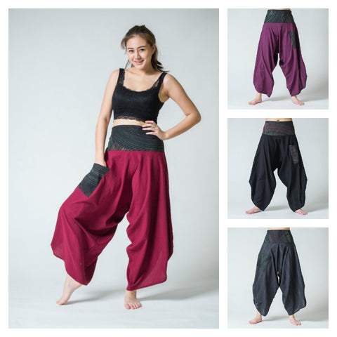 Assorted Set of 10 Women's Thai Button Up Cotton Pants with Hill Tribe Trim
