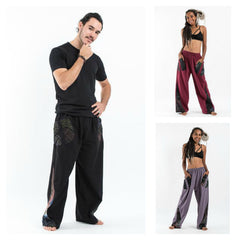 Assorted Set of 5 Thai Cotton Unisex Pants With Hill Tribe Trim