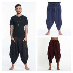 Assorted Set of 3 Stone Washed Large Pockets Harem Pants