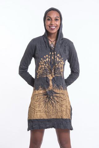 Sure Design Women's Tree of Life Hoodie Dress Gold on Black